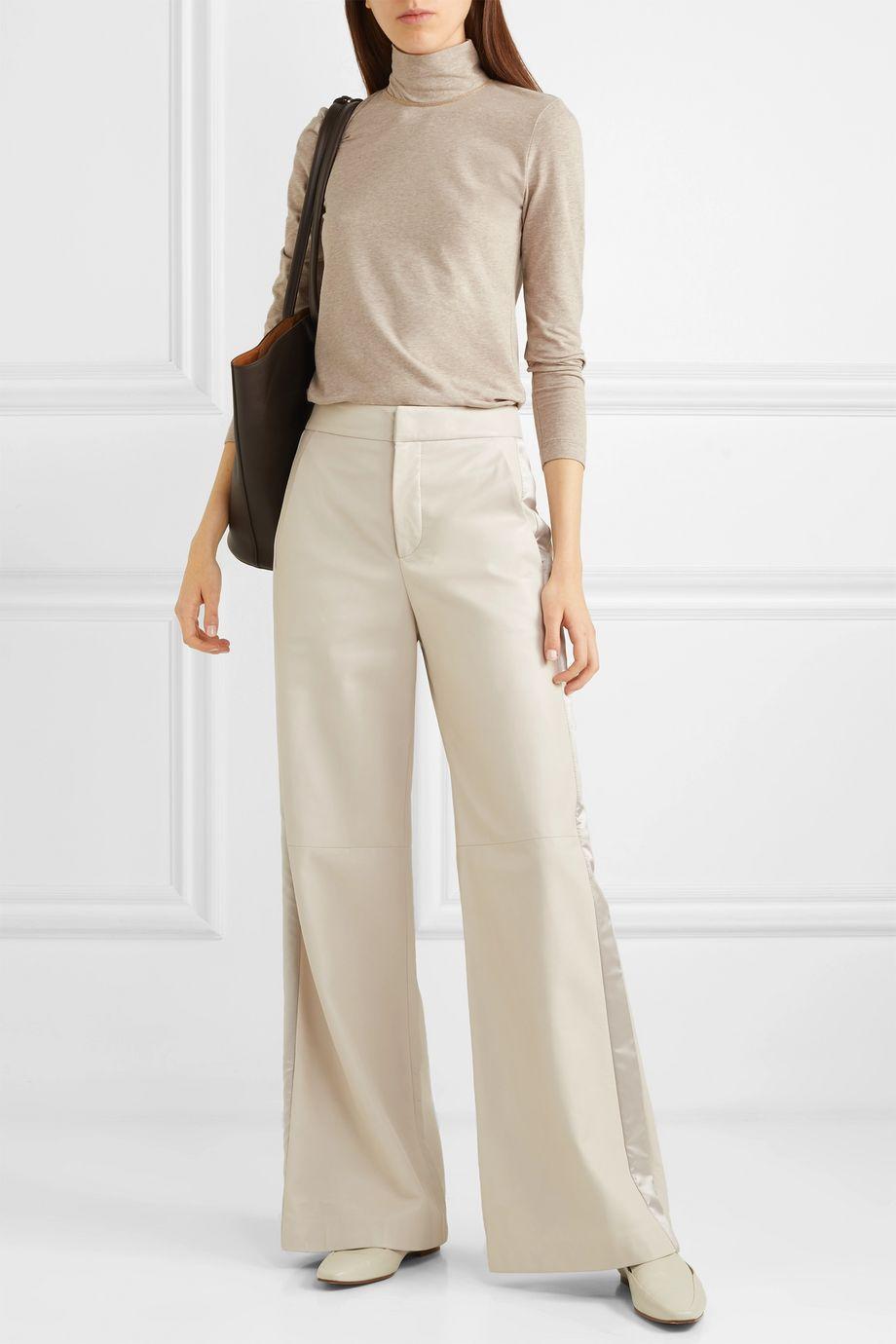 Brunello Cucinelli Bead-embellished mélange stretch cotton-jersey turtleneck top