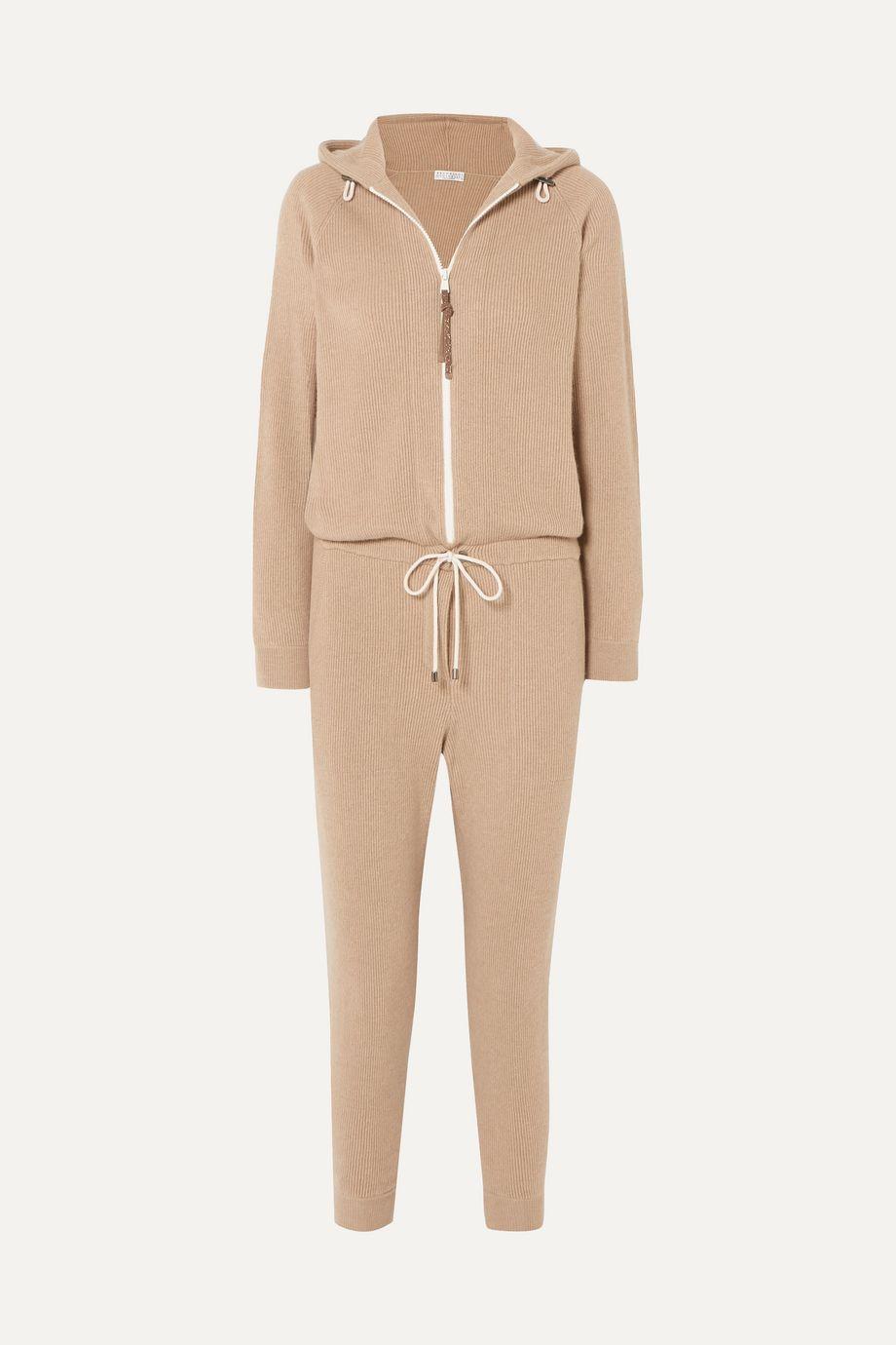 Brunello Cucinelli Bead-embellished ribbed cashmere jumpsuit