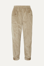 Cotton and cashmere-blend corduroy tapered pants