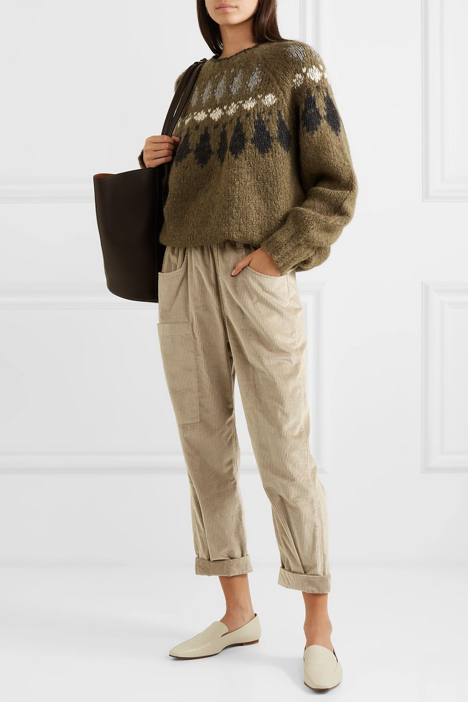 Brunello Cucinelli Cotton and cashmere-blend corduroy tapered pants