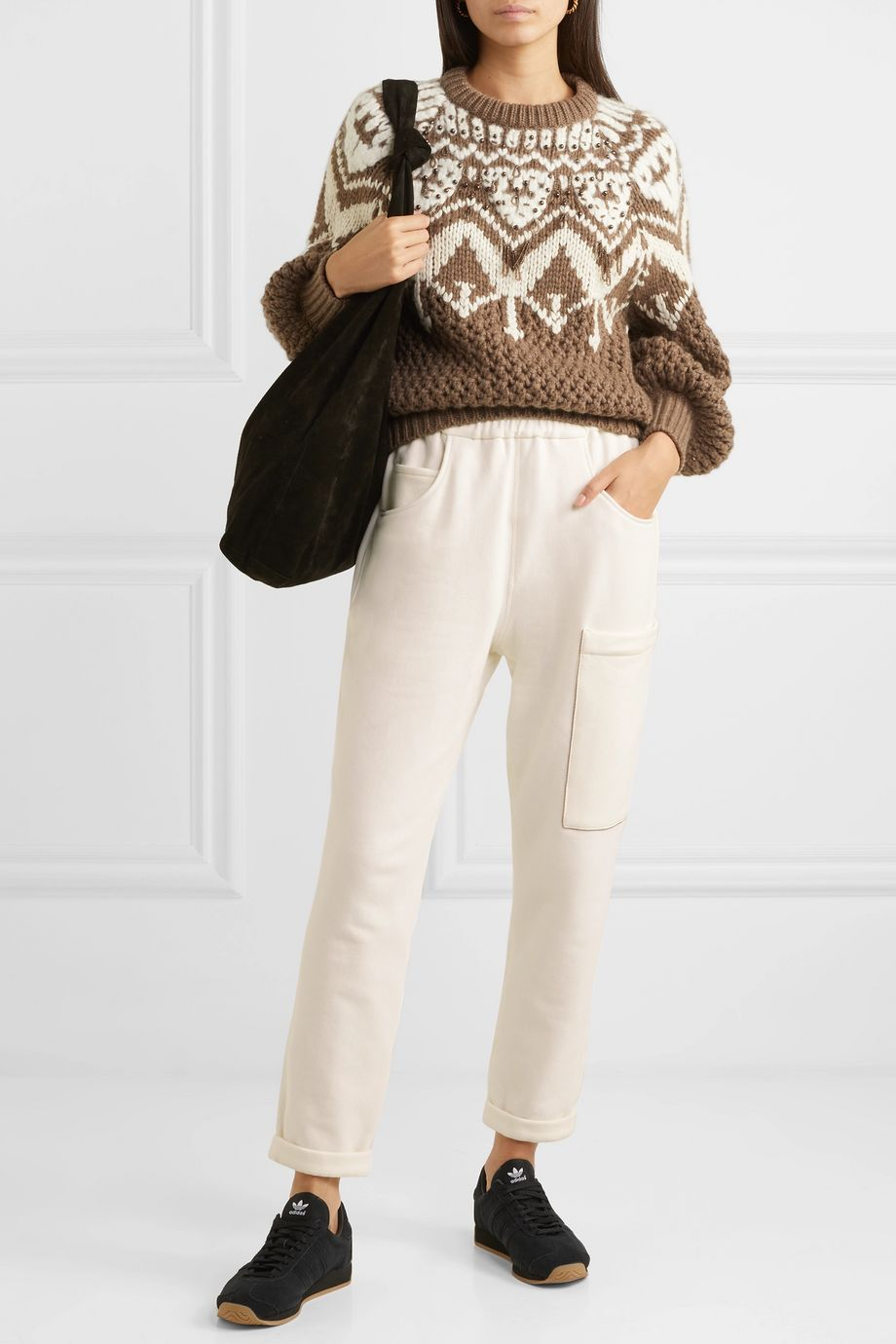 Brunello Cucinelli Bead-embellished stretch-cotton jersey track pants