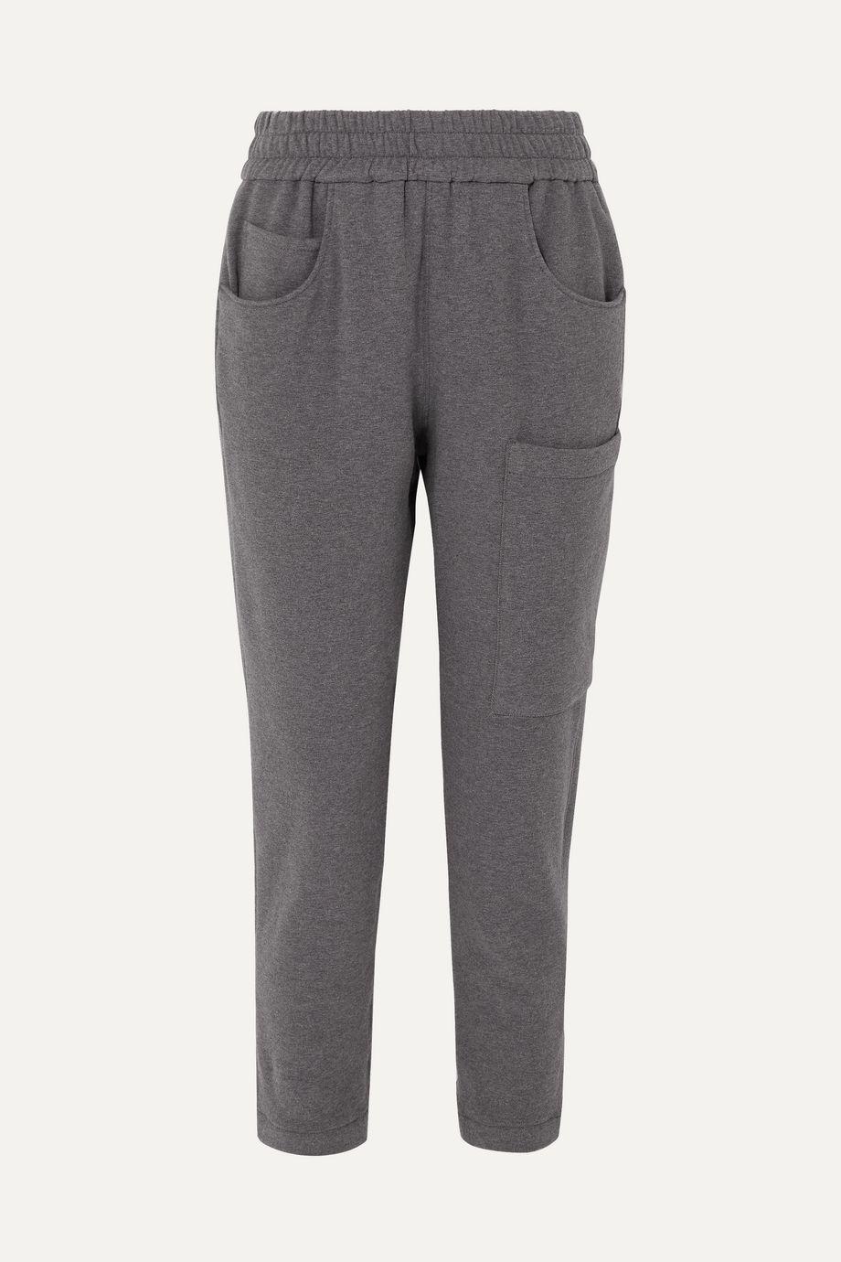 Brunello Cucinelli Bead-embellished mélange stretch-cotton jersey track pants