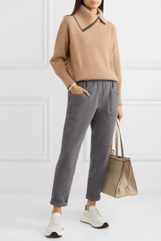 Brunello Cucinelli Bead-embellished mélange stretch-cotton jersey track pants