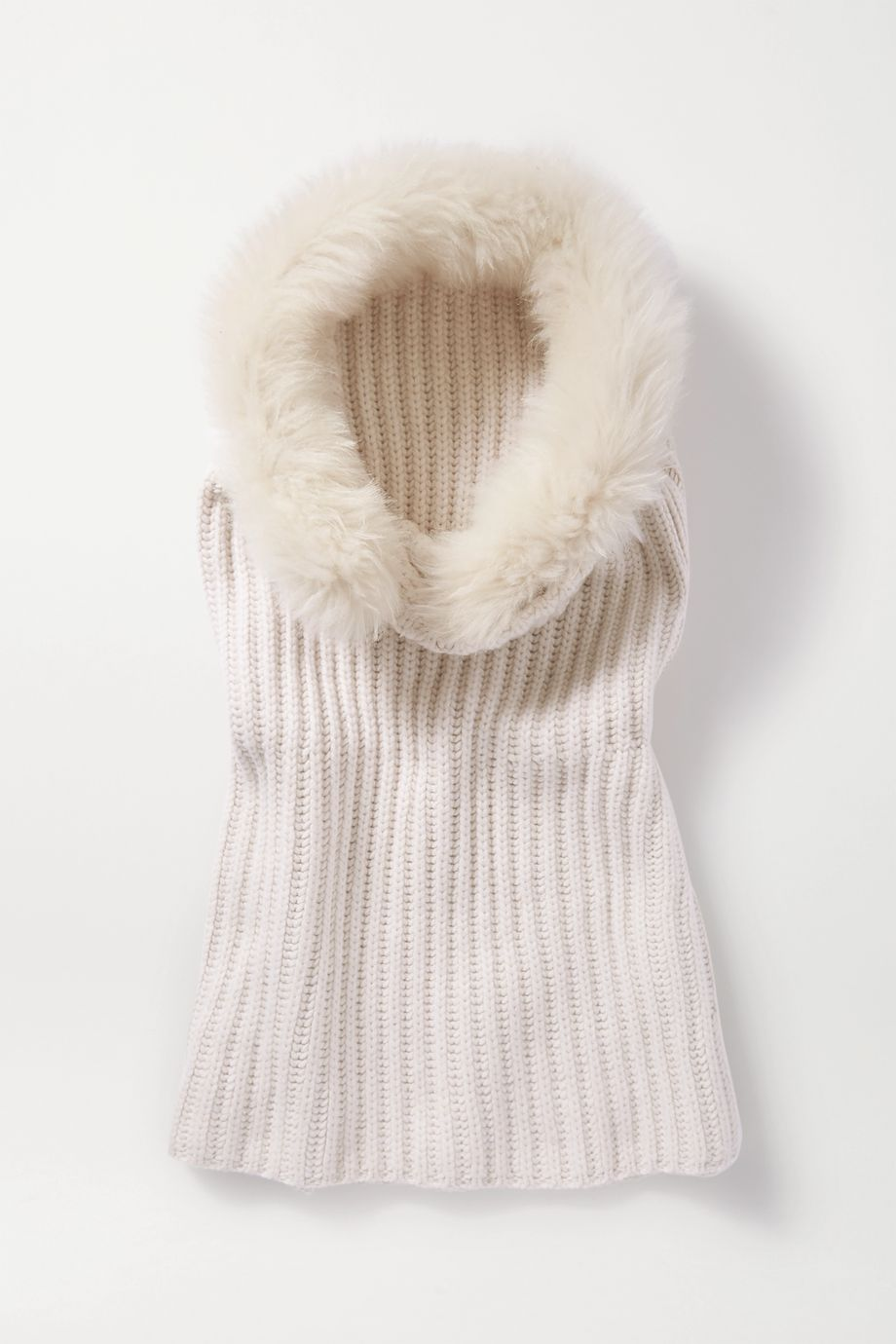 Brunello Cucinelli Faux fur-trimmed ribbed wool, cashmere and silk-blend snood