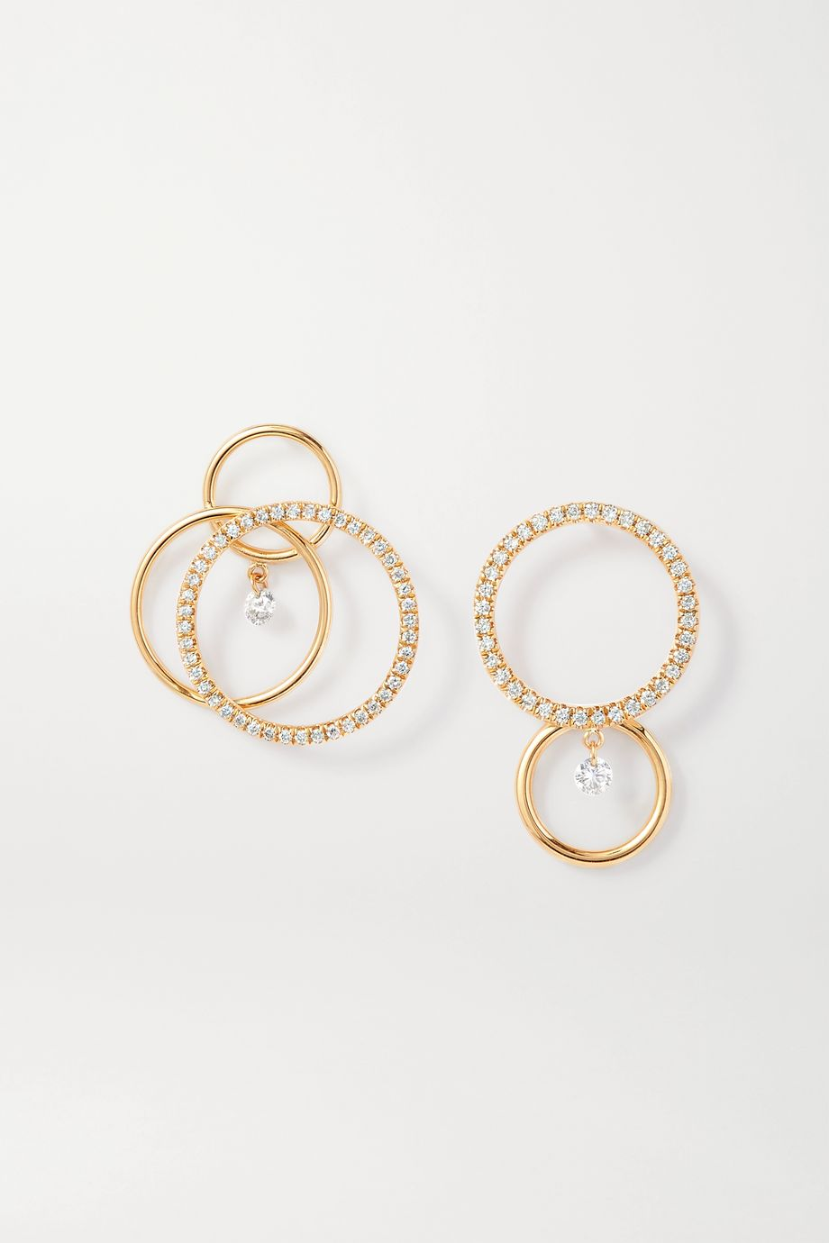 Persée Tourbillon + Bonnie & Clyde 18-karat gold diamond earrings