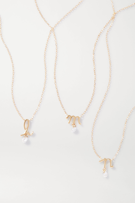 Persée Alphabet Kette aus 18 Karat Gold mit Diamant