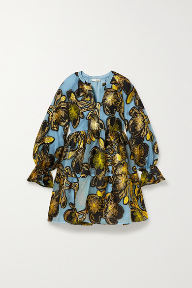 Stine Goya Ivana Tiered Metallic Floral-jacquard Mini Dress In Light Blue