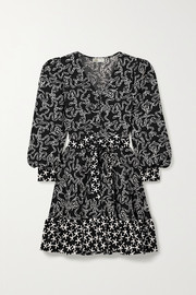Stine Goya Farrow belted printed cloqué mini dress