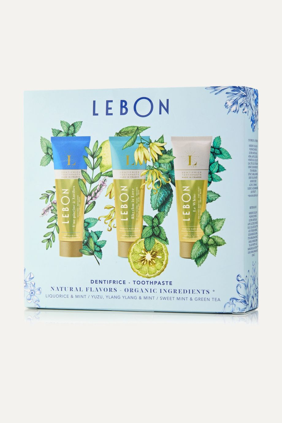 LEBON Blue Gift Set: Le White, Rhythm is Love and Une Piscine à Antibes Toothpaste, 3 x 25ml