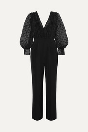 Saloni Bernadette cady and embroidered tulle jumpsuit
