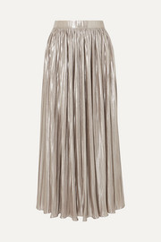Saloni Camille pleated metallic jersey midi skirt