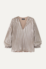 Saloni Metallic plissé-lamé top