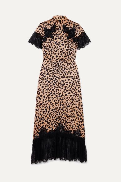 Saloni Dresses + Venyx Ryder lace-trimmed leopard-print silk-satin midi dress