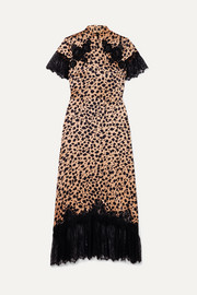 Saloni + Venyx Ryder lace-trimmed leopard-print silk-satin midi dress