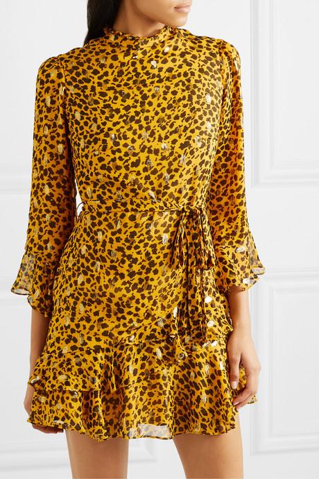 + Venyx Marisa leopard-print fil coupé silk-blend chiffon mini dress