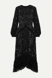 Saloni + Venyx Isa embellished broderie anglaise silk-georgette midi dress