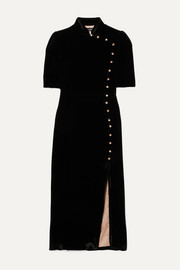 Saloni + Venyx Taro button-embellished velvet midi dress