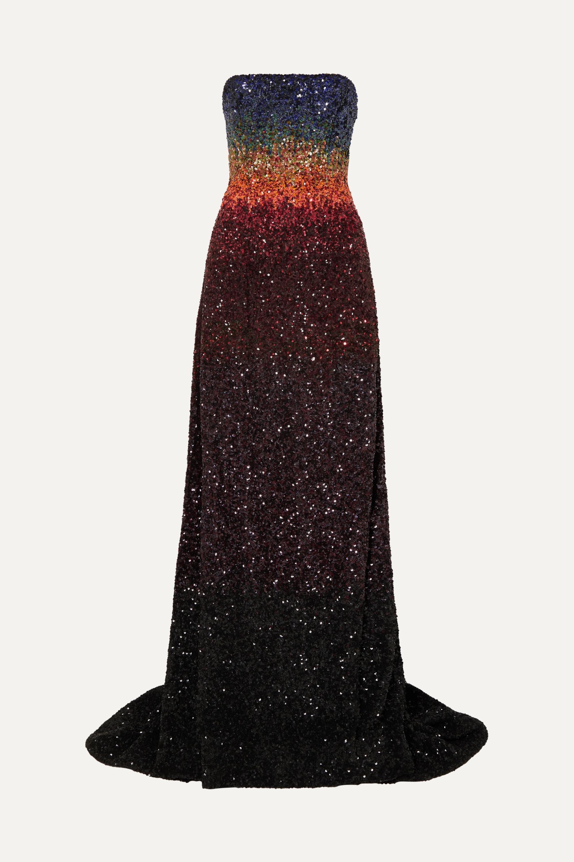 Ong-Oaj Pairam Barbora strapless dégradé sequined silk-satin gown