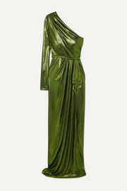 Ong-Oaj Pairam Eris one-sleeve draped lamé gown