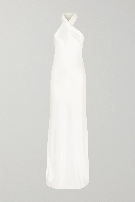 Galvan Mayfair halterneck asymmetric hammered-satin gown