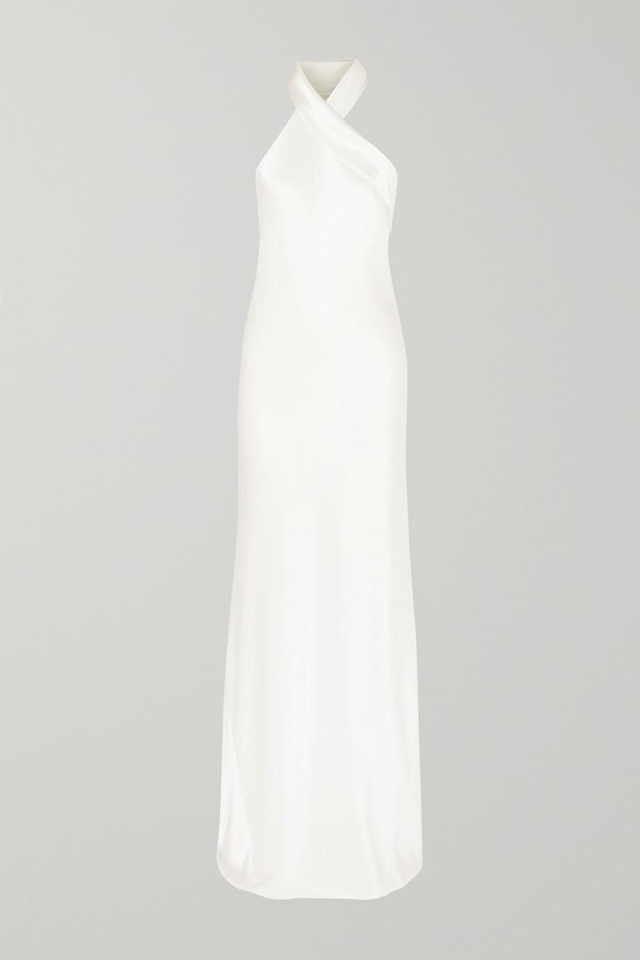 Galvan Mayfair asymmetrische Robe aus gehämmertem Satin mit Neckholder