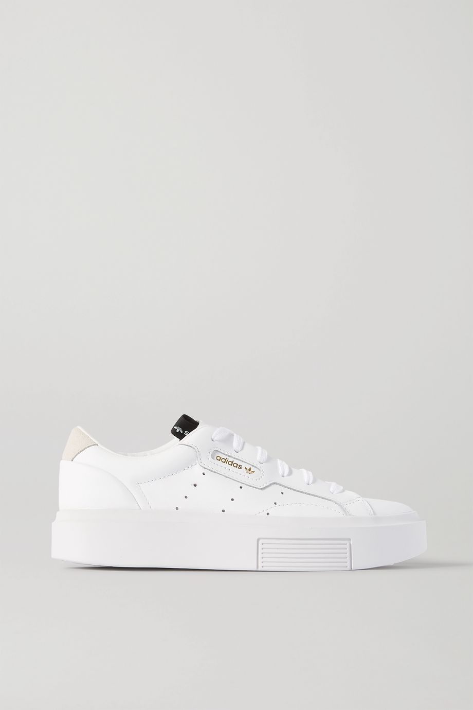 adidas Originals Sleek Super suede-trimmed leather sneakers