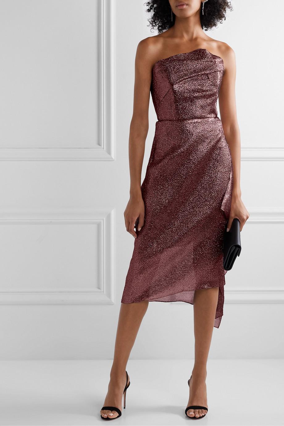 Roland Mouret Draped metallic textured-organza dress