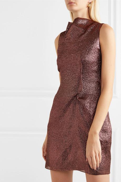 Gathered metallic organza mini dress