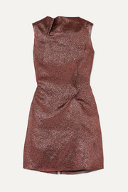 Roland Mouret Gathered metallic organza mini dress