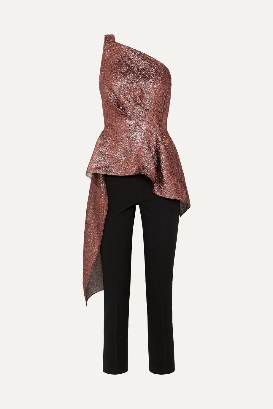 Roland Mouret One-shoulder asymmetric metallic textured-organza and crepe jumpsuit