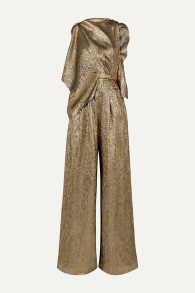Draped Metallic Silk Blend Jumpsuit by Roland Mouret