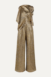 Draped metallic silk-blend jumpsuit