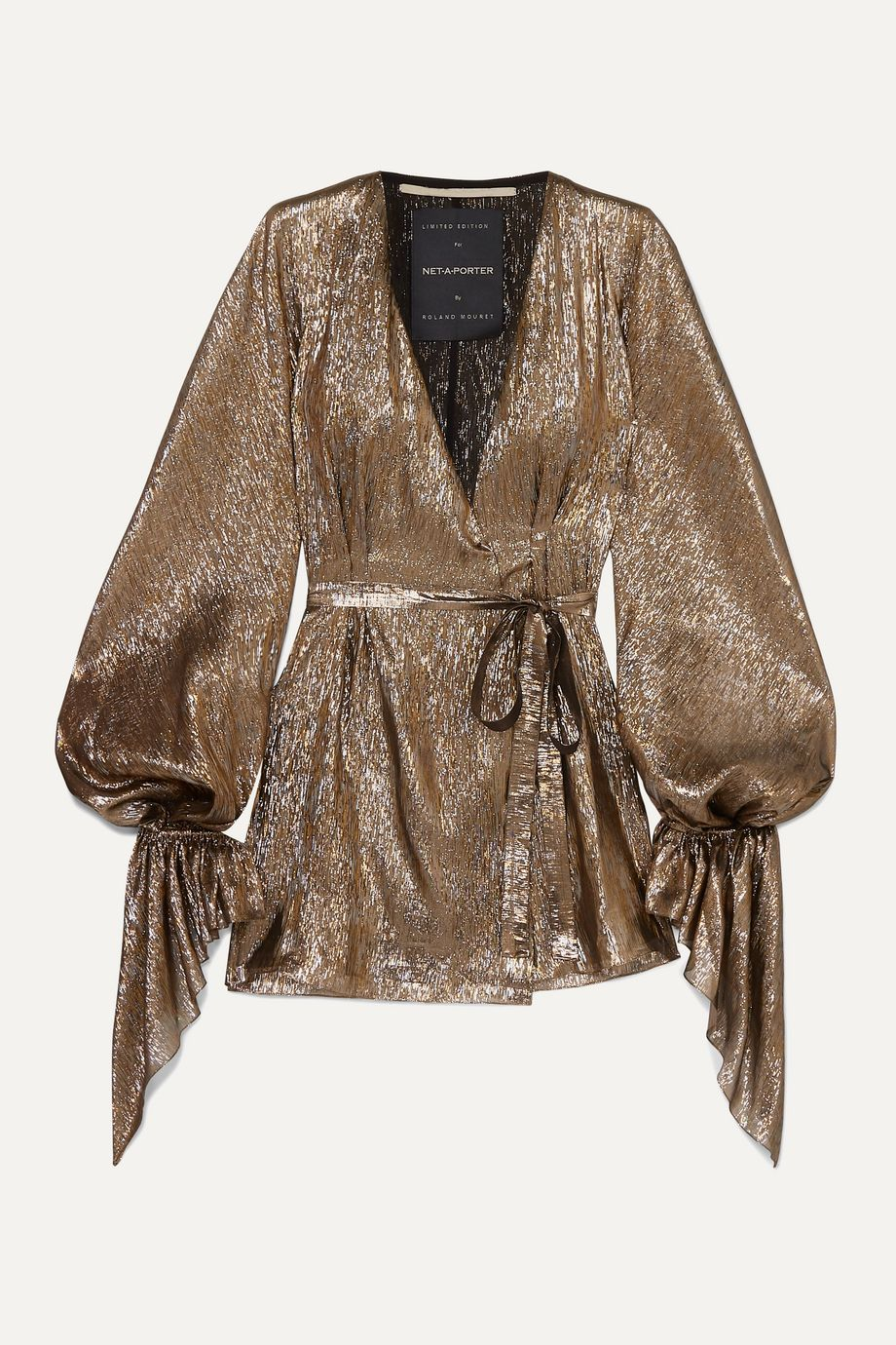 Roland Mouret Hamberg metallic plissé silk-blend wrap mini dress