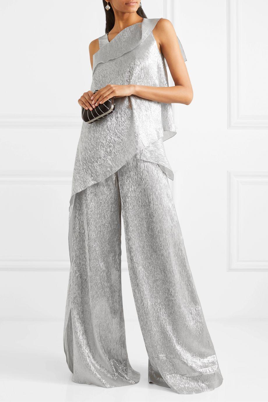 Roland Mouret Iver asymmetric silk-blend Lurex blouse
