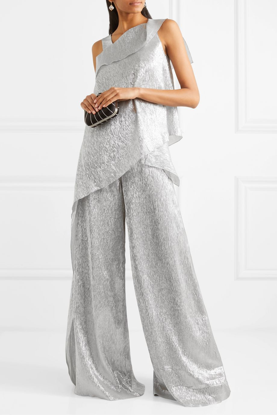 Roland Mouret Argott silk-blend Lurex wide-leg pants