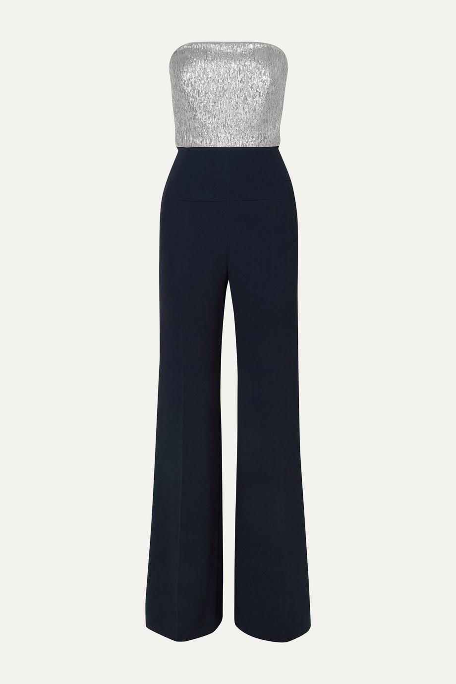 Roland Mouret Gifford strapless silk-blend Lurex and crepe jumpsuit