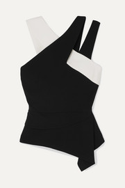 Asymmetric two-tone crepe top
