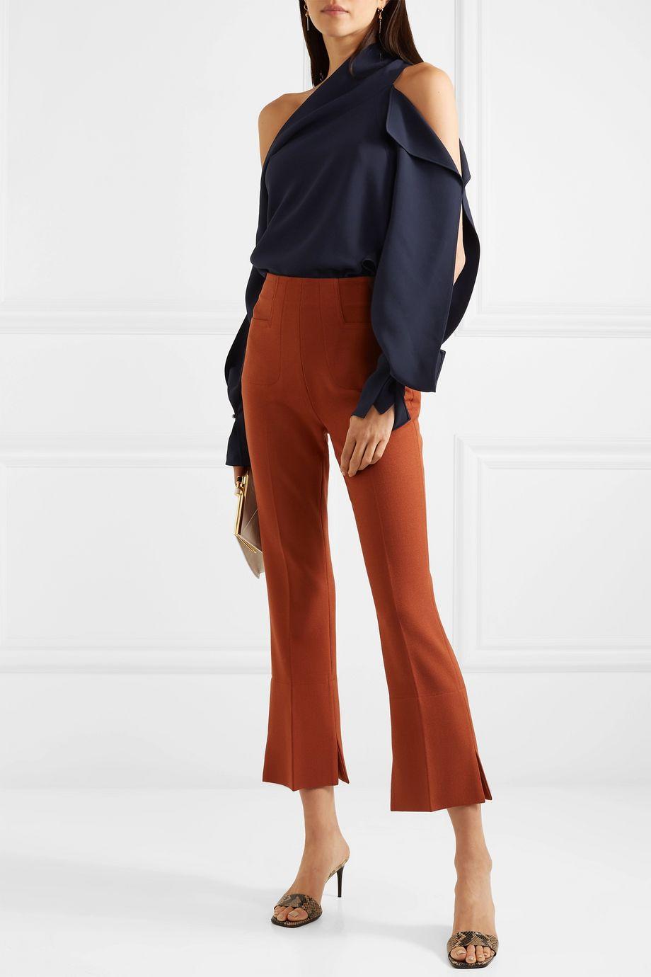 Roland Mouret One-shoulder cutout crepe blouse