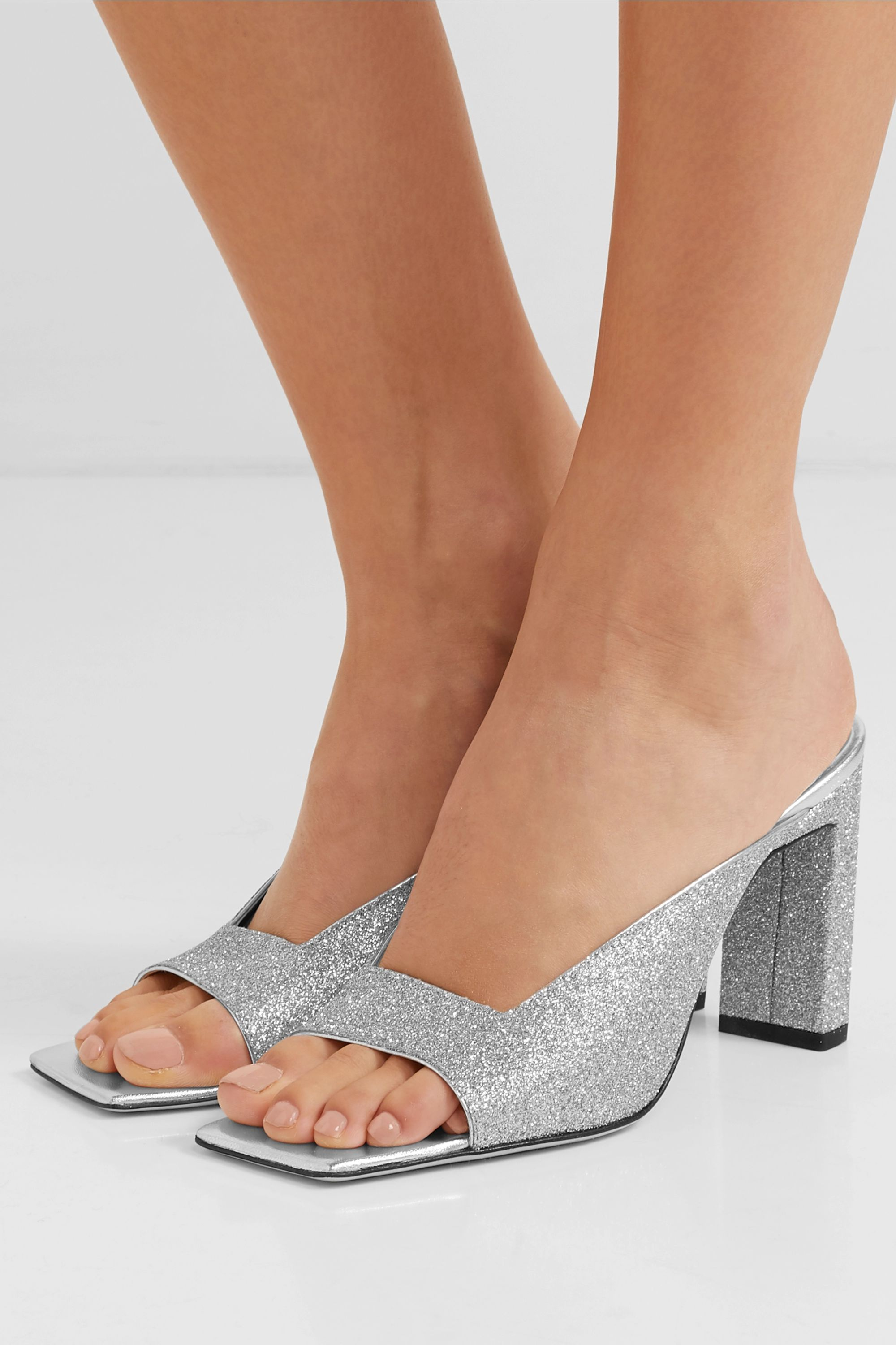 Wandler Isa glittered leather mules