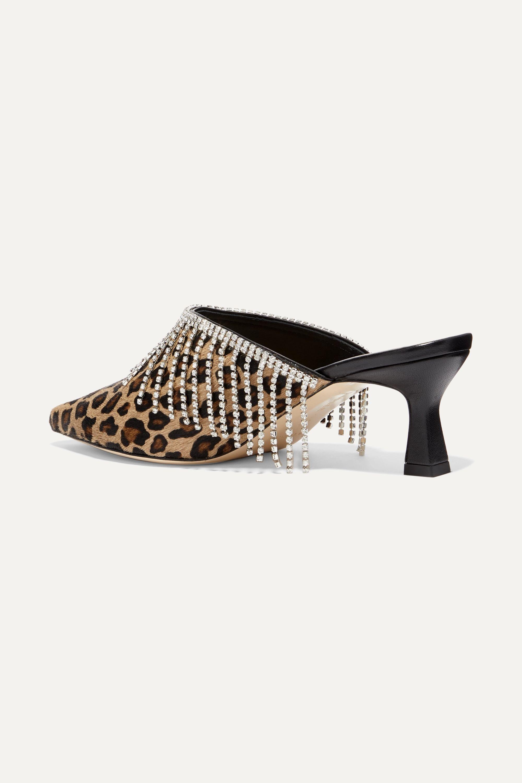 Wandler Bente crystal-embellished leopard-print calf hair mules