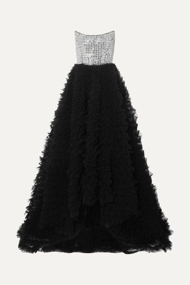 35e7bd9f Ralph & Russo | Strapless crystal-embellished crepe and ruffled tulle gown  | NET-A-PORTER.COM