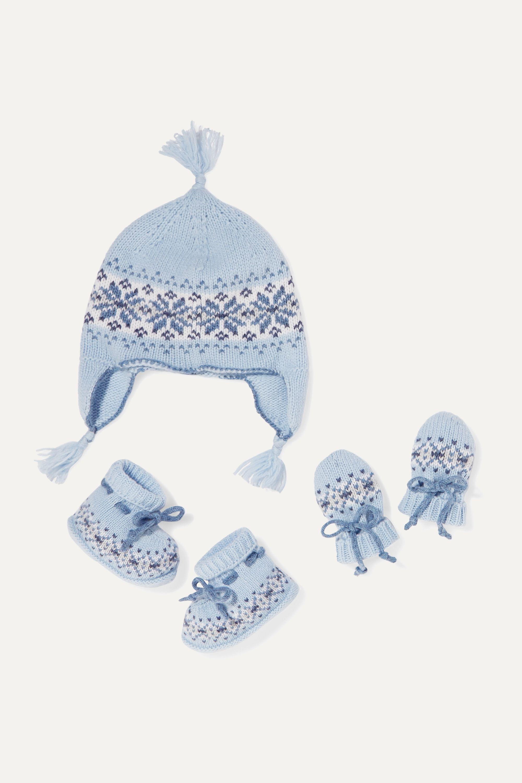 Johnstons of Elgin Kids Set für Babys aus Schuhen, Mütze und Fäustlingen aus Kaschmir mit Fair-Isle-Muster