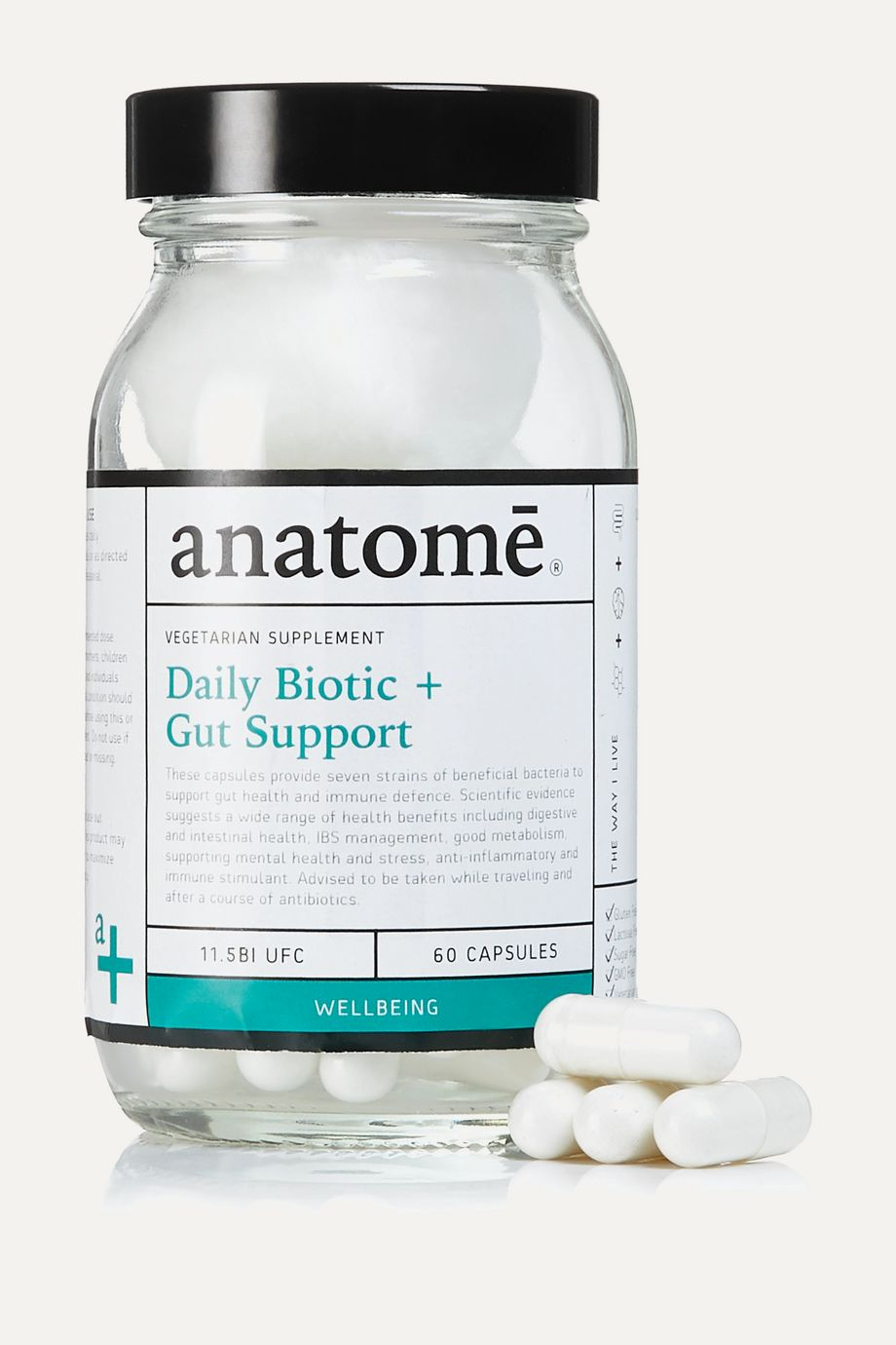 anatomē Vegan Food Supplement - Probiotic + Gut Health (60 capsules)