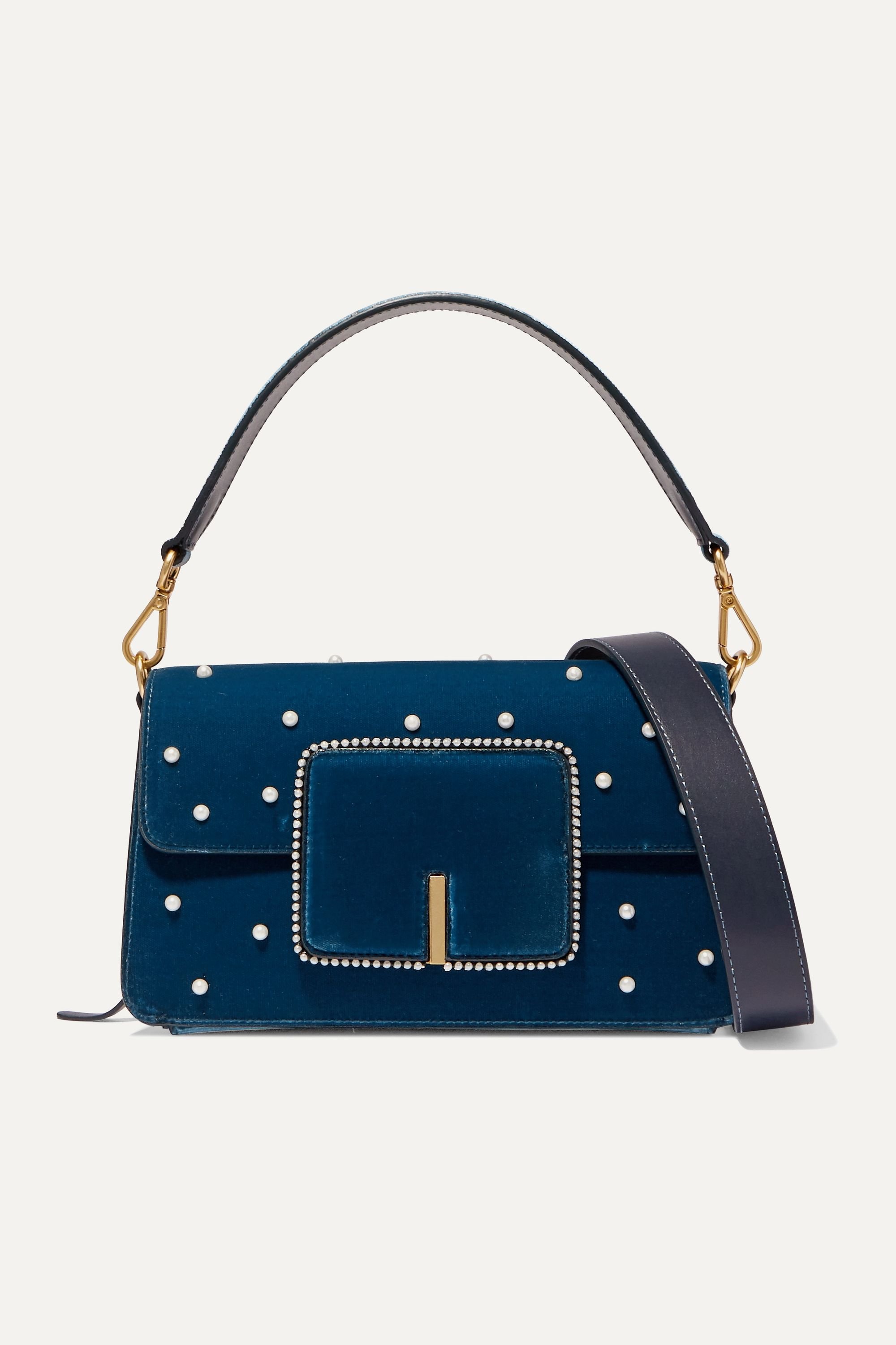 Wandler Georgia leather-trimmed faux pearl-embellished velvet shoulder bag