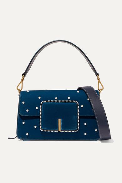 Wandler Shoulder Georgia leather-trimmed faux pearl-embellished velvet shoulder bag