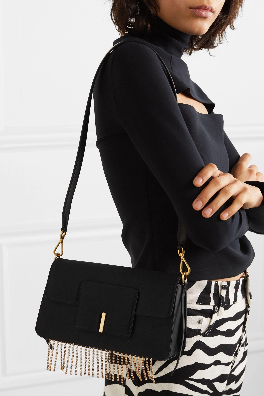 Wandler Georgia leather-trimmed crystal-embellished satin shoulder bag