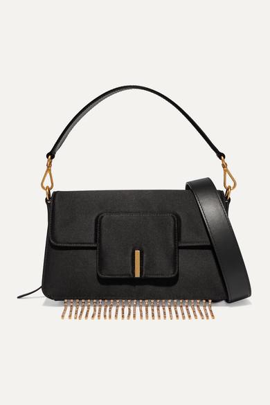 Georgia Leather Trimmed Crystal Embellished Satin Shoulder Bag by Wandler