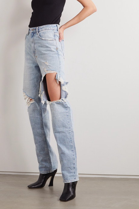 Playback Kut Up distressed high-rise straight-leg jeans