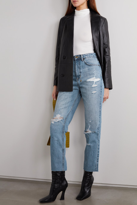 Chlo Wasted distressed high-rise straight-leg jeans