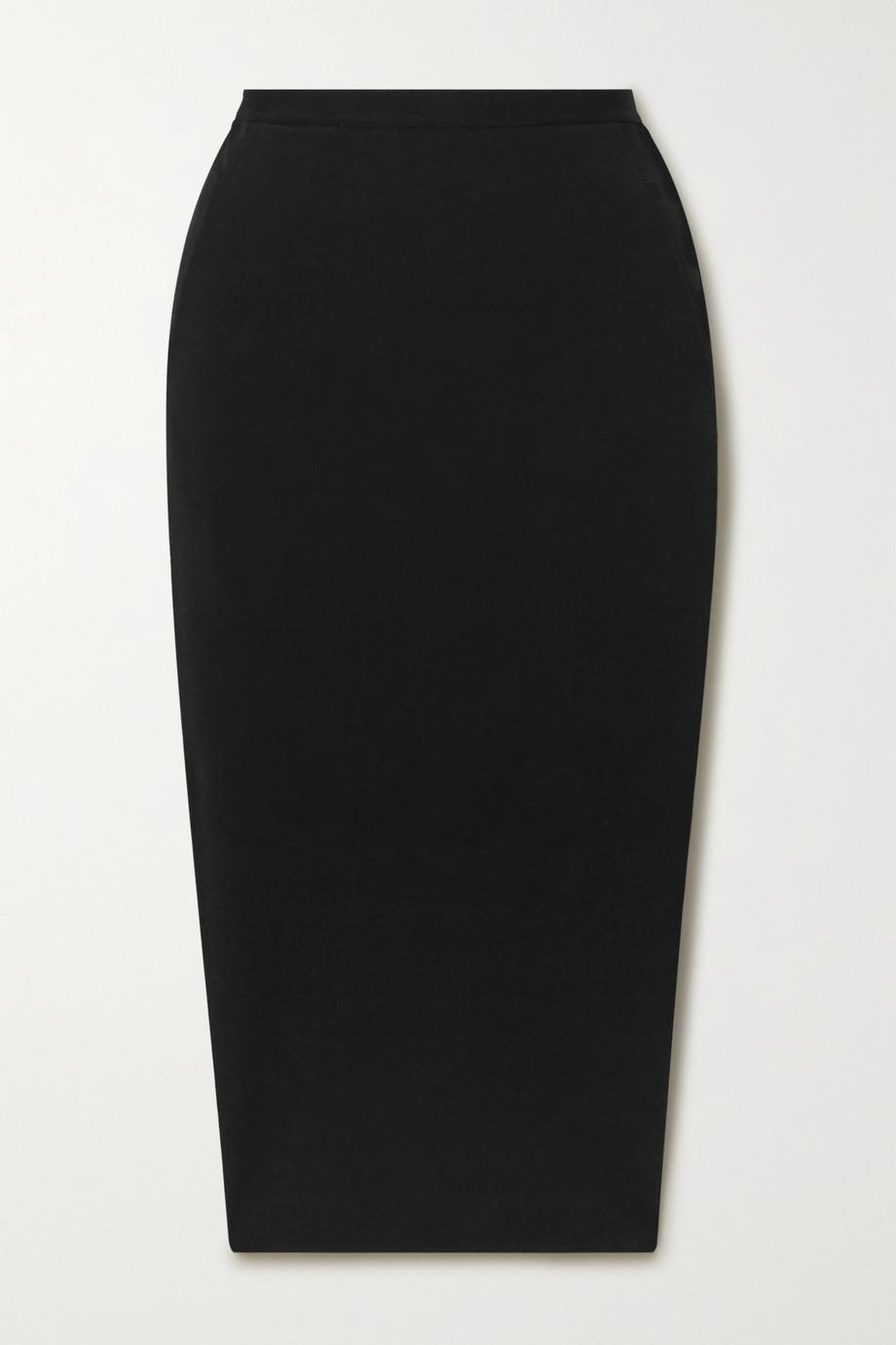Rick Owens Pillar stretch cotton-blend cloqué midi skirt